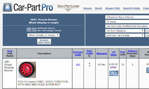 Car-Part Pro and the Car-Part Pro app have added images to the descriptions and parts grading information already present. Clicking on the main image will bring up a gallery showing all images of the part in question.