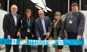 Celebrating the grand opening of Impact Edmonton. From left: Terry Daniels (Managing Director, Impact Auto Auctions), Councillor Jackie McCuaig, (Division 2, Parkland County), Dave Tenk (Branch Manager, Impact Edmonton), Councillor Tracey Melnyk (Division 6, Parkland County) and Deputy Mayor John McNab (Parkland County).