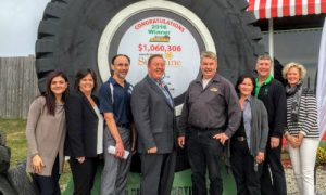 Representatives of OARA, OFA, OTS, the Sunshine Foundation, Early's Auto Parts and the city of Alliston gather for the official cheque presentation at Early's Auto Parts.