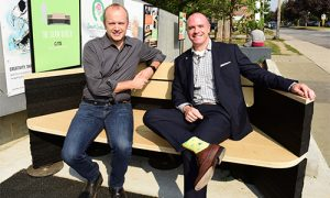 Councillor Mike Layton and Ontario Tire Stewardship Executive Director, Andrew Horsman test The Shaw Bench.
